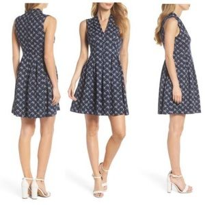 Vince Camuto Navy Blue Fit & Flare Dress